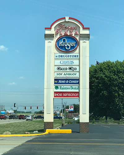 Trojan Plaza Shopping Center Sign
